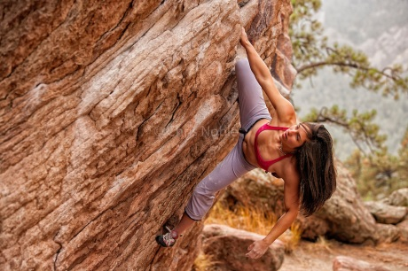 Alex Puccio bouldering on Flagstaff Mountain